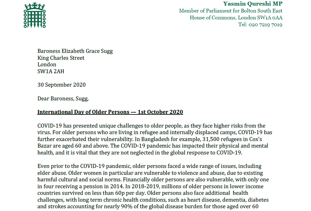 Letter to Baroness Sugg on the International Day of Older Persons